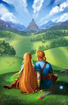 Legend of Zelda Breath of the Wild art > Princess Zelda and Link The Legend Of Zelda, Legend Of Zelda Breath, Breath Of The Wild, Cry Anime, Anime Art, Hyrule Warriors, Girls Anime, Fire Emblem Awakening, Link Zelda
