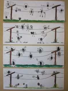 Thumbprints turned into little birds on wires. Done by grade 4.