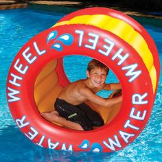 Pool water wheel gets you rolling' and moving'! A kids pool float, Water Wheel is an inflatable water wheel constructed durably for your free wheelin' needs! My Pool, Pool Water, Pool Fun, Water Slides, Pool Slides, Inflatable Pool Toys, Swimming Pool Toys, Pool Rafts, Beach Toys