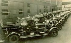 A photo from an unknown date shows a fleet of FDNY fire truck from Engine 56.