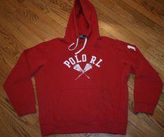 Polo RL 17 Ralph Lauren red Hoodie Sweatshirt Mens Medium rugby pullover #PoloRalphLauren #Hoodie