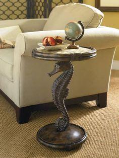 Beach house/coastal decor Seahorse accent table
