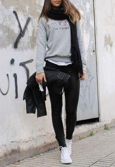 3. avec le cuir - 7 #panoplies de Style #urbain à l'usure avec Converse... → #Streetstyle