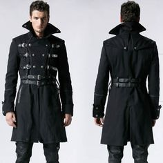 Men Black Double Breasted Belted Military Goth Fashion Trench Coat ...