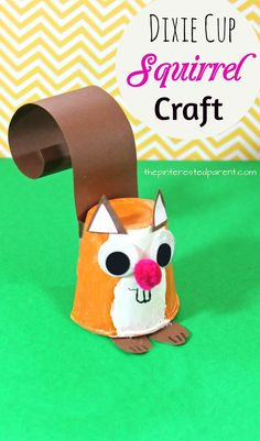 Dixie Cup Squirrel Craft - kid& arts and crafts for autumn / fall - paper a. - - Dixie Cup Squirrel Craft – kid& arts and crafts for autumn / fall – paper animals Paper Cup Crafts, Paper Crafts For Kids, Preschool Crafts, Paper Crafting, Fun Crafts, Diy Paper, Decor Crafts, Kids Arts And Crafts, Wood Crafts