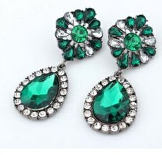Emerald Green Rhinestone Drop Earrings by JewelryTee on Etsy. Visit our store for more lovely accesories: https://www.etsy.com/shop/JewelryTee