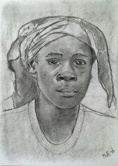 """""""Maar voor jullie die ontzag hebben voor Mijn naam zal de zon stralend opgaan. """" Maleachi 3:20 Houtskool portret van meisje uit het Open Doors blad."""