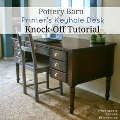 Pottery Barn Printer's Keyhole Desk Knock-off Tutorial