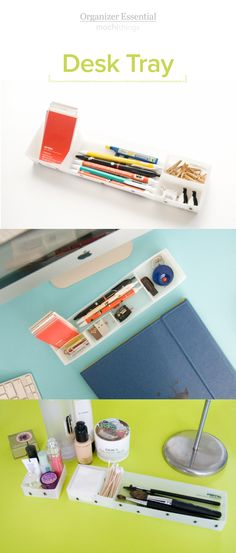 Check out this super cute desk organizer! It comes with 4 rearrangeable compartments to help you store & organize your pens, pencils, sticky notes, paper clips, washi tapes... basically all kinds of stationery! This desk tray is very slim and compact to give it a low profile look and feel on your desk! Absolutely perfect for organization!
