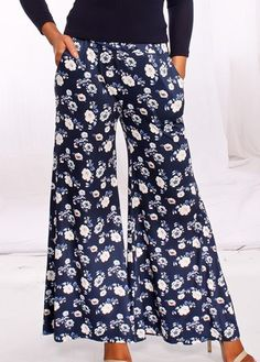 Floral Print Navy Blue Pocket Flare Pants  on sale only US$33.48 now, buy cheap Floral Print Navy Blue Pocket Flare Pants  at liligal.com Free Clothes, Clothes For Women, Dress For Success, Flare Pants, Buy Cheap, Jumpsuits For Women, Skirt Fashion, Manga, Beautiful Outfits