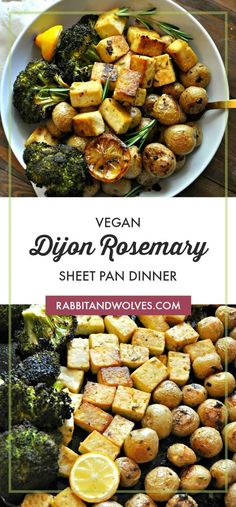 This vegan Dijon rosemary sheet pan dinner is so simple, so delicious and healthy. Tofu, baby potatoes and broccoli roasted in a Dijon rosemary vinaigrette. Vegan Dinner Recipes, Veggie Recipes, Whole Food Recipes, Vegetarian Recipes, Cooking Recipes, Healthy Recipes, Easy Vegan Dinner, Veggie Dinner, Brunch Recipes
