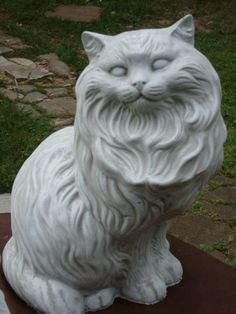 my grandparents had this. I have to have it. BIG FAT FANCY CAT CONCRETE/CEMENT GARDEN STATUE G/WHITE $56.99