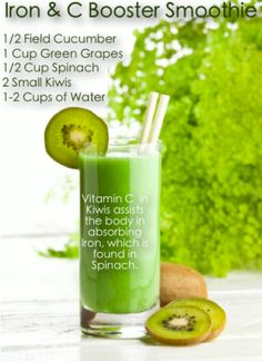 vegetable smoothie~ iron absorption from your foods fights fatigue!  Consume with Vitamin C like spinach + kiwi smoothie.