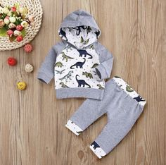 Infant Toddler Baby Boys Girl Clothes Cartoon Dinosaur Hooded Tops New – dresskily Pants Outfit, Outfit Sets, Baby Boy Outfits, Kids Outfits, Cartoon Dinosaur, Boys And Girls Clothes, Boutique Clothing, Clothing Sets, Baby Dress