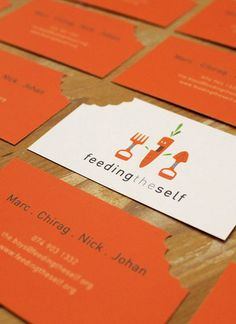 Business cards for a pretty sweet organization that teaches though whom, don't have enough to eat how to grow what they can. @Kathryn Whiteside Grayson    http://www.feedingtheself.org/about.html