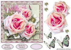 Simplicity - 15 by Carol James A beautifully simple floral 7 x 7 topper with decoupage pieces and 2 sentiment tags (plus a blank tag). Can be used for lots of different occasions like Birthdays, Mother's Day, Best Wishes, Anniversaries, Thinking of You, Thanks, etc.    Sentiments include: Birthday Wishes Happy Birthday