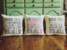 Customize your pillow with your kids' names, birthdays, and more!