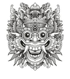 Balinese barong traditional mask vector image on VectorStock Arte Tribal, Aztec Art, God Tattoos, Body Art Tattoos, Art Drawings Sketches, Tattoo Drawings, Arte Ganesha, Tattoo Japonais, Barong Bali