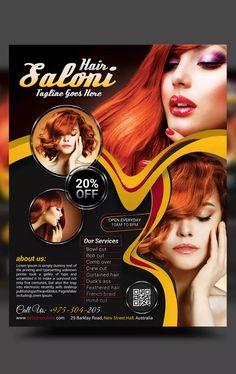 Beauty Salon Flyer by on Envato Elements Graphic Design Flyer, Flyer Design Templates, Brochure Design, Flyer Template, Happy Birthday Invitation Card, Web Design Color, Beauty Clinic, Clinic Design, Web Banner Design