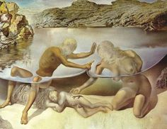 """""""Take my hand, my child of love come step inside my tears Swim the magic ocean I've been crying all these years When our love will ride away into eternal skies A symptom of the universe, a love that never dies""""-Black Sabbath Hercules Lifts the Skin of the Sea and Stops Venus for an instant from Waking Love 1963 Salvador Dali"""