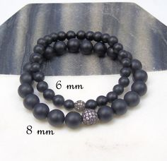 Matte Black Onyx Bracelet 6 mm Smooth Round by jivanmuktijewelry