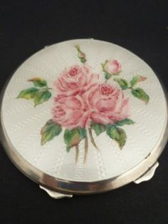 STUNNING SILVER & GUILLOCHE PINK ROSES ENAMEL COMPACT HALLMARKED DATED 1950