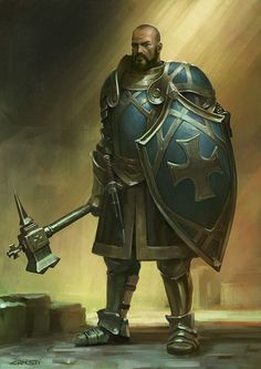 Clérigo humano, armadura pesada, escudo grande e martelo de guerra