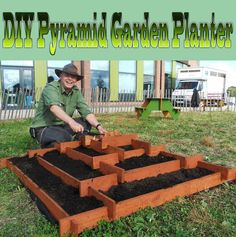 DIY Pyramid Garden Planter. This planter took me approximately 90 minutes to make: The design is simple, and so is the required level of woodworking skill.. #DIY #Garden #gardening #woodworking #planter