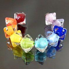 Pikalda :Handmade lampwork glass 10 beads colorful 'Rainbow Crystal' SRA make to order on Etsy, $45.00
