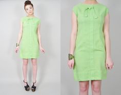 VINTAGE 60s MOD pastel lime green linen sheath tailored bow tie twiggy mini dress. $39.00, via Etsy. https://www.etsy.com/shop/LushLoveLita #vintage #fashion #etsy #retro #madmen #pinup #mod #disco #hippie #boho #gypsy #festival #newwave #punk #goth #streetstyle