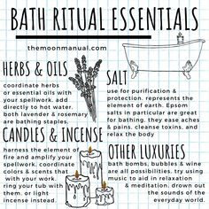 Modern Witch's Bath Ritual Essentials Herb & Oils Candles & Incense Salt Witchcraft Herbs, Witchcraft Spell Books, Green Witchcraft, Magic Herbs, Herbal Magic, Wiccan Magic, Wiccan Spells, Magic Spells, Magick
