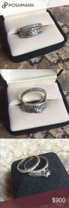 Wedding/engagement Diamond Ring This is size 8 and real 14k white gold with diamonds! Only flaw is there's two small diamonds missing but can be replaced by a jeweler. It has been resized twice that is why the stamp is gone but guaranteed it's real or money back! Jewelry Rings