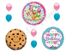 SHOPKINS 9 pc Cookie Birthday Girl Balloons Decoration Supplies Party  Sweet #Anagram #BirthdayChild