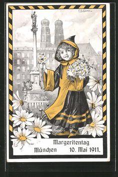 Künstler-AK Ernst Schlemo: München, Margeritentag am 10.5.1911, Münchner Kindl 0
