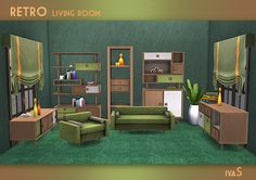 "soloriya: "" ***Retro Living Room*** The set includes 10 objects. Storages and sideboards have slots for clutter. Can be found in category Surfaces - Miscellaneous. Decorative objects can be found in..."