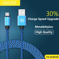 Original SAUFII 2A nylon micro usb cable Charger fast charging cable cord for samsung galaxy s7 xiaomi huawei short 1 2 3M