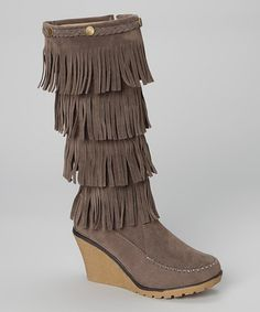 Another great find on #zulily! Gray Fringe Wedge Boot #zulilyfinds