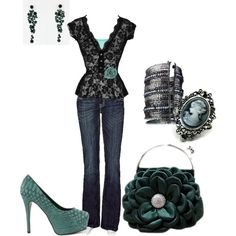 Aqua & Black, created by amyjoyful1 on Polyvore