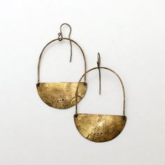 Brass Blade Earrings Rustic Textured Southwest by FromTheReliquary,