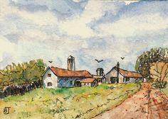 """Kentucky Farm"" ACEO Original Line and Wash Miniature Painting - US Artist - BRJ #Miniature"