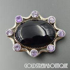 NATIVE AMERICAN NAVAJO STERLING SILVER OVAL BLACK ONYX AMETHYST ACCENTS PENDANT BROOCH PIN