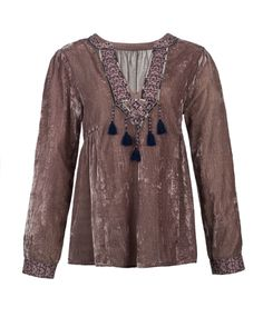 BHUTAN TUNIC Velvet tunic with embroidery details