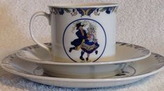 High collectible Rorstrand Sweden china cup, saucer & plate. Features Swedish National costumes. Great find for a Rorstrand collector.