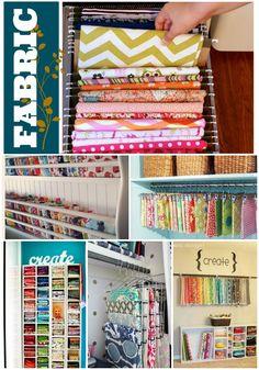 Awesome fabric storage ideas.  I like the file drawer idea.