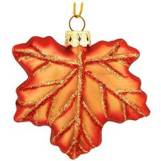 Maple Leaf Glass Ornament - $4.99 - Bronner's CHRISTmas Wonderland