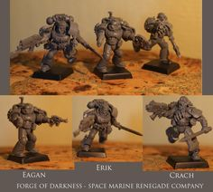 =WIP= Today I present three members of my space marine renegade company. Two of them are twin brothers - Erik and Crach. Previously, they were members of the Order of the Space Wolves. Third Space Marine is a former member of the Ultramarine. Erik and Crach love melee combat, face to face with the enemy, then they feel that they are living. Eagan is still excelling in the use of guns. Set of two pistols, which he uses now has emotional significance for him.