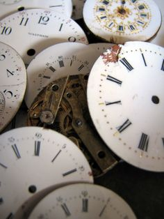 The Drill Hall Emporium   Collection of antique enamel watch faces