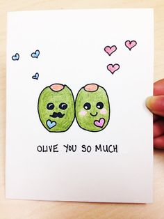 Funny Valentine Card, Olive you so much, hand drawn just for your husband, boyfriend, wife or girlfriend. Its great for anniversaries, Valentines