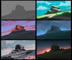 Color Experiments, Digital Painting, done in : Art Concept Art Tutorial, Digital Art Tutorial, Digital Painting Tutorials, Digital Paintings, Concept Art Landscape, Landscape Art, Landscape Paintings, Color Script, Environment Painting