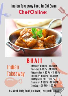 Bhaji is an Indian Takeaway in Old Swan Located in the heart of Liverpool, Bhaji offers fresh Indian food and fast service for delivery & collection Order takeaway food online from Bhaji through ChefOnline in just a few clicks. Order Takeaway, Food Online, Indian Food Recipes, Swan, Liverpool, Menu, Delivery, Fresh, Heart